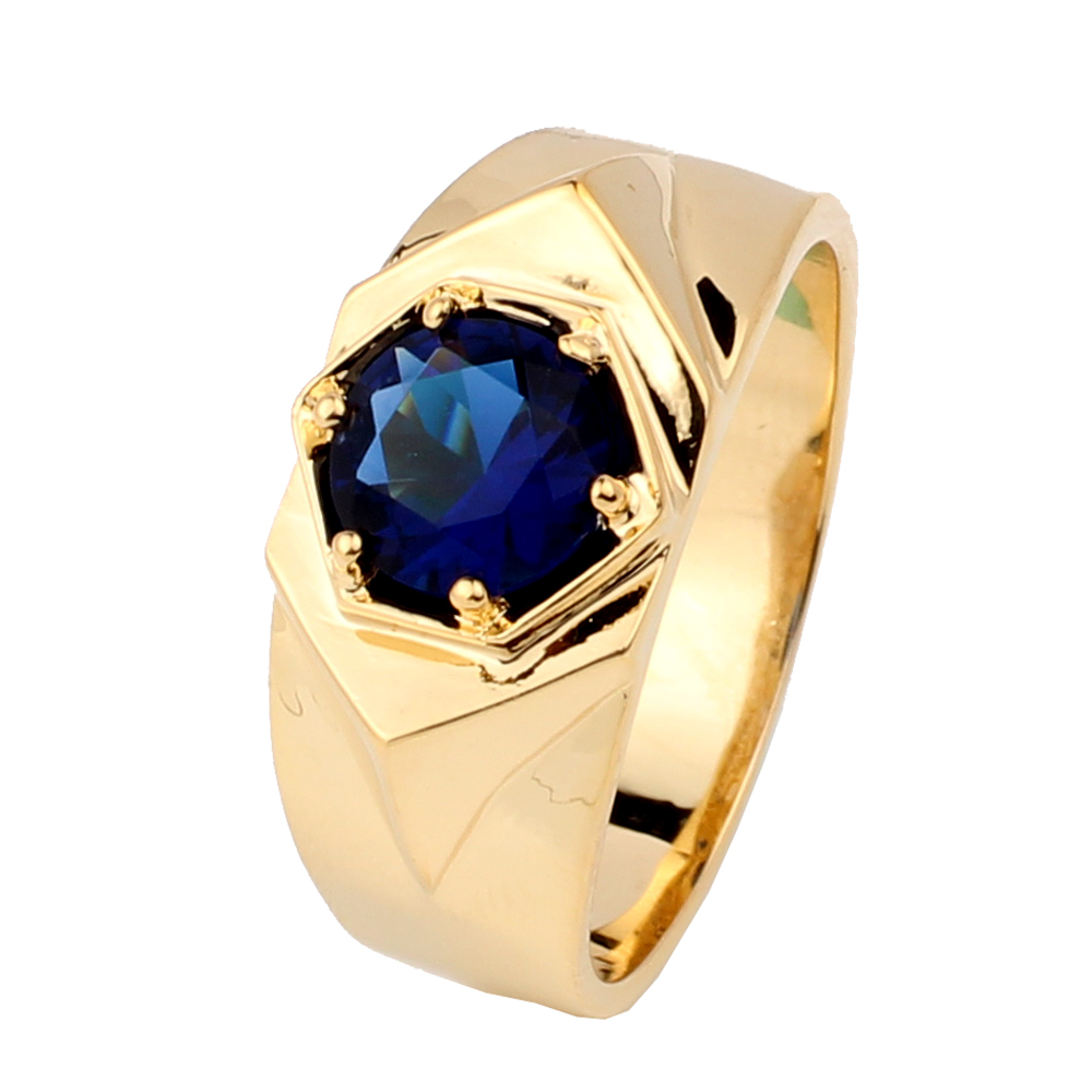 Yellow Gold Color Men's 925 Sterling Silver Ring 7.5mm Center Stone Fashion Jewelry Size 10 11 12 13 R515G