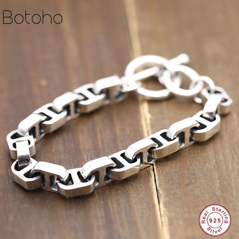 Nouveau métier à tisser bandes 100% réel 925 argent Sterling Simple hommes femme amitié bracelet à breloques bracelet fait à la main thaïlande bijoux en argent