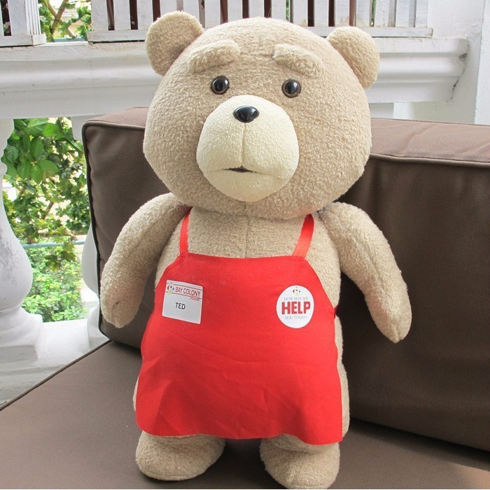 2016 Movie Teddy Bear Ted 2 Plush Toys In Apron Soft Stuffed Animals Plush 45cm fancytrader biggest in the world pluch bear toys real jumbo 134 340cm huge giant plush stuffed bear 2 sizes ft90451