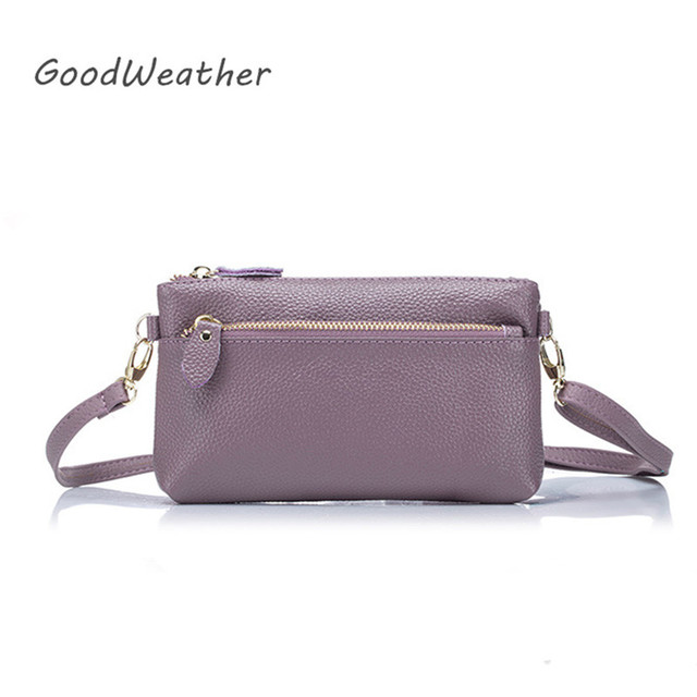 9c8ddf51b7 Designer small purple genuine leather clutch bags for woman protable square  messenger bag crossbody ladies purse 5colors
