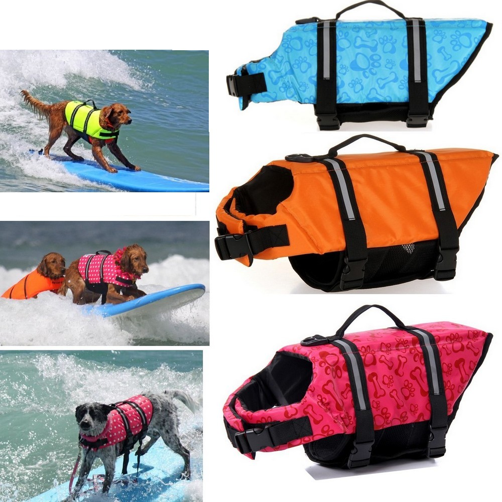 Pet Dog Life Jacket Safety Clothes Life Vest Collar Harness Saver Pet Dog Swimming Preserver Lothes Summer Swimwear 5 Sizes