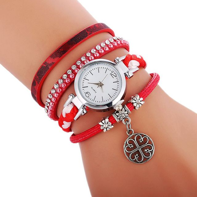 a88549e95 100pcs/lot exclusive lady elegance weave Leather watch quartz wrap around  tree pendant wrist watches