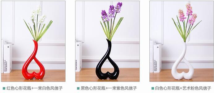 Bridal chamber decoration craft ceramic vase decoration heart shaped flower arrangement in Bottles Jars Boxes from Home Garden