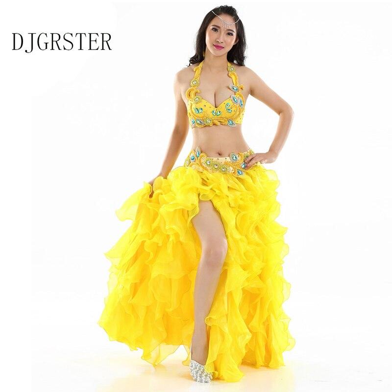56a0c4f5328b8 DJGRSTER جديد أعلى جودة الأداء الخرز البطن الرقص الشرقي أزياء رقص 3 قطع  مجموعة (البرازيل ، حزام ، تنورة) البطن ملابس رقص
