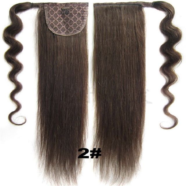 2 Dark Brown Remy Human Hair Horse Pony Tail Clip In Ponytail Human