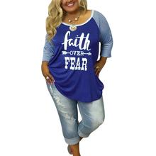 3 Colors Plus Size Women T-Shirt Tops Faith Over Fear O-Neck Striped 3/4 Raglan Sleeve t shirt Casual Loose Female Tops Tee 5XL