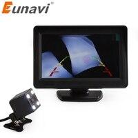 Eunavi TFT 4.3'' Auto Achteruitkijkspiegel Parking Monitor 4 LED Night Vision CCD Auto Parking Camera car monitor