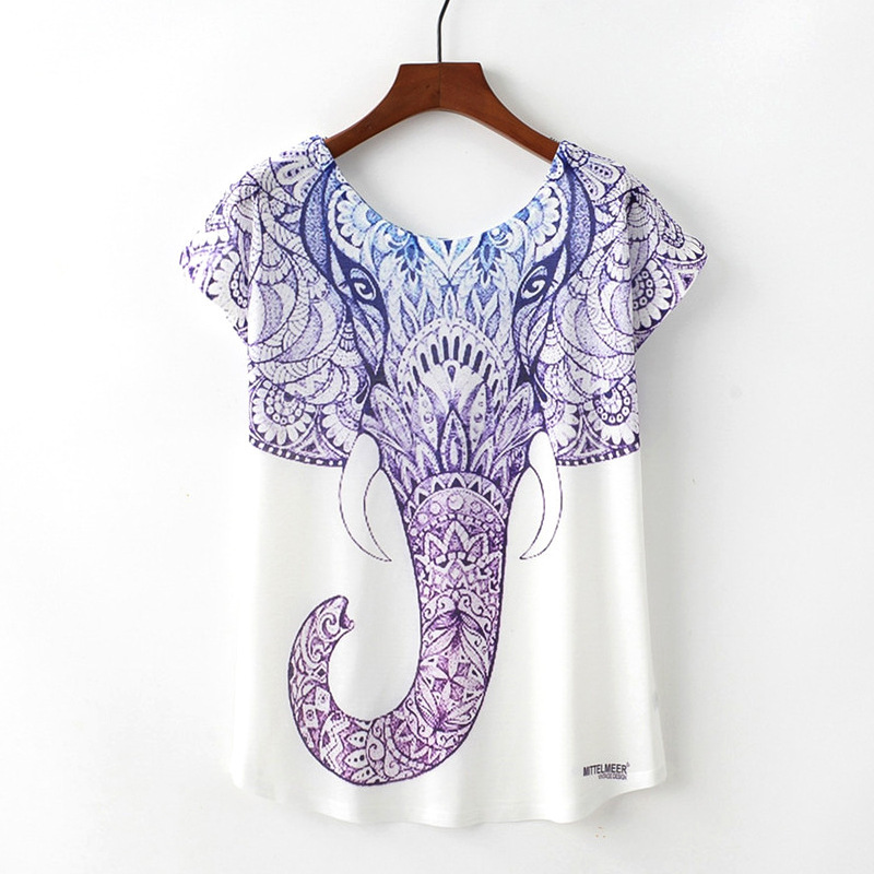Novelty Women T Shirt Harajuku Kawaii Cute Style Elephant Print T-shirt Short Sleeve O-neck Tops korean style women