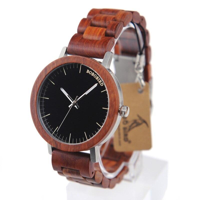 BOBO BIRD Red Leather Wood Strap Watches Mens Wooden Luxury Top Brand Quartz Handmade Wrist Watch relogio masculino C-M16
