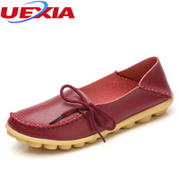 New Women Soft Leather Shoes Moccasins Mother Loafers Soft Leisure Flats Female Driving Casual Cut Outs