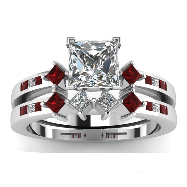 stamp 925 100 925 sterling silver pave garnet red princess cut cubic zirconia silver wedding