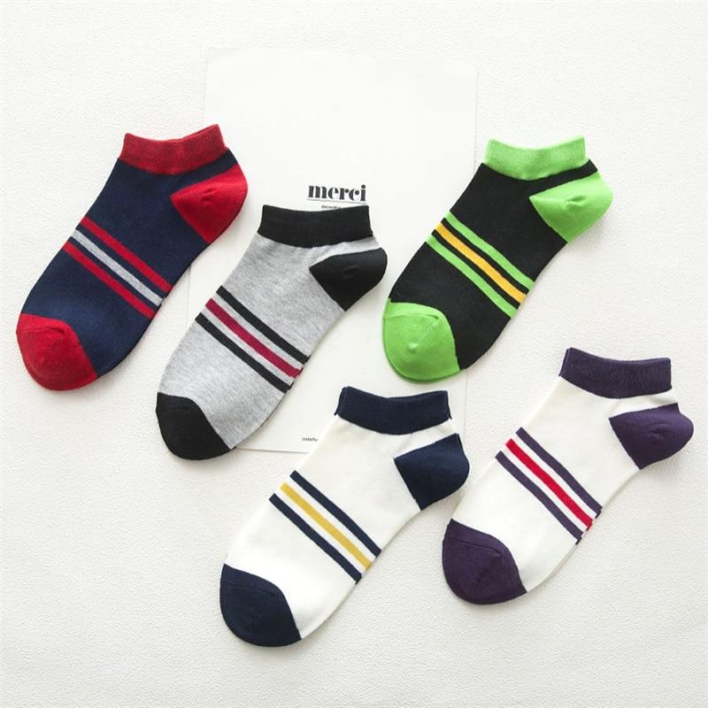 Men's Socks Cotton Fashion Colorful Striped Boat Socks Summer Men's Casual Breathable Socks Boys New Meias