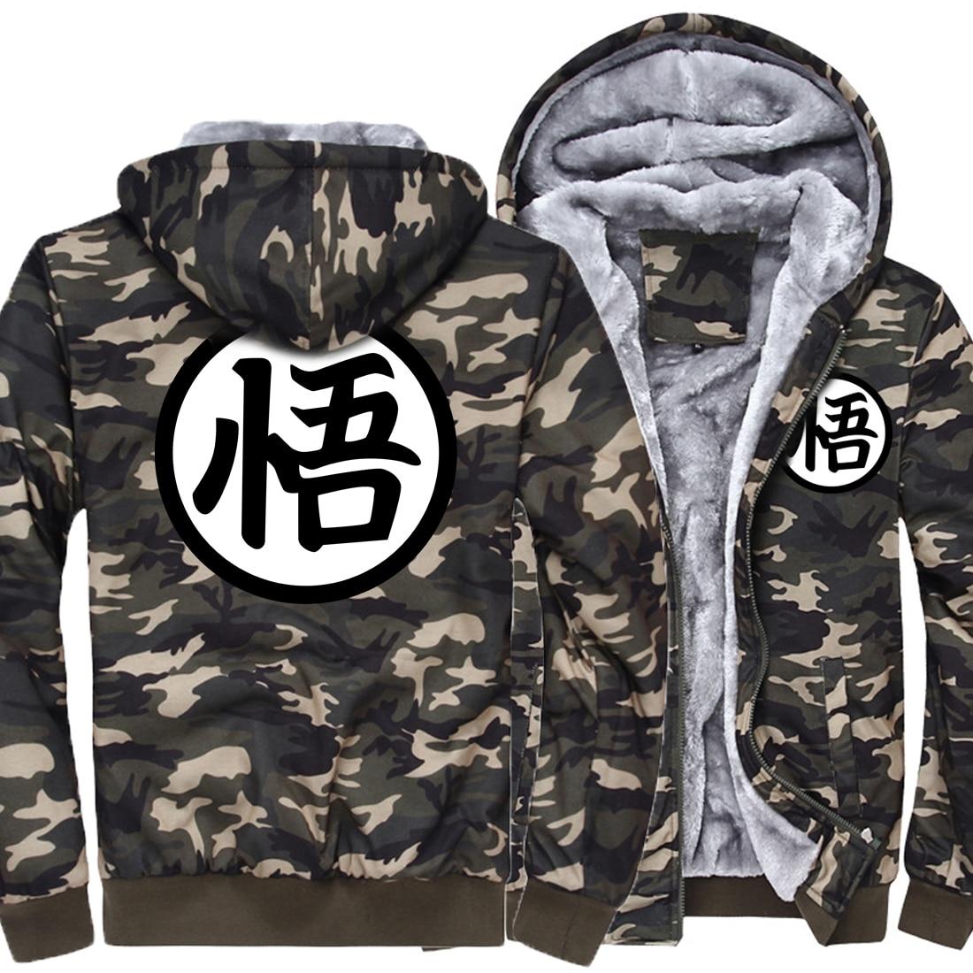 2019 Men Fashion Camouflage Thick Winter Hoodies Anime Dragon Ball print Son Goku Streetwear Hipster Men's Sportswear Hoody Kpop