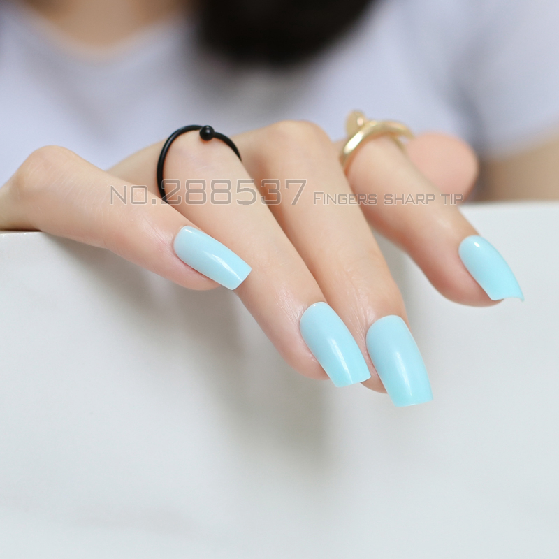 24pcs azure sky blue Fake Finger Nails Bent Flat Long Size Acrylic ...