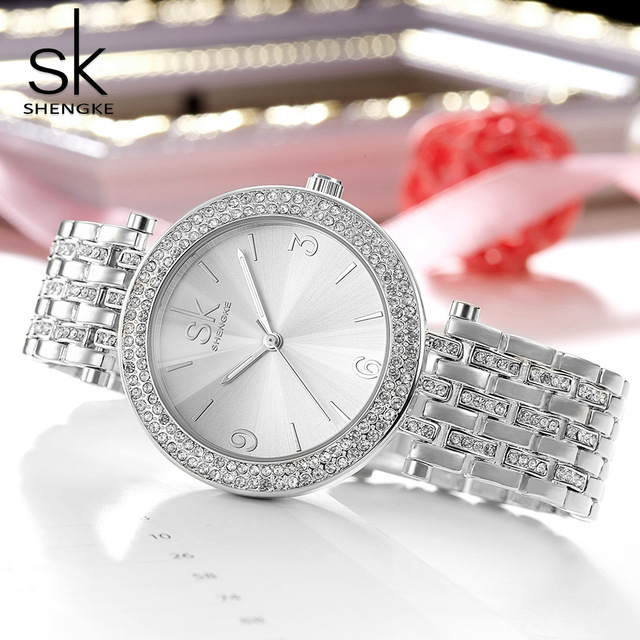 SK Luxury Women Watch Crystal Sliver Dial Fashion Design Bracelet Watches Ladies