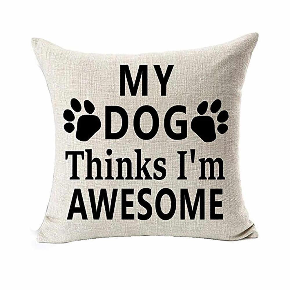 2019 ล่าสุดขายร้อนยอดนิยม best dog lover ของขวัญผ้าฝ้ายลินินโยนปลอกหมอนบัฟเฟอร์ฝาครอบ