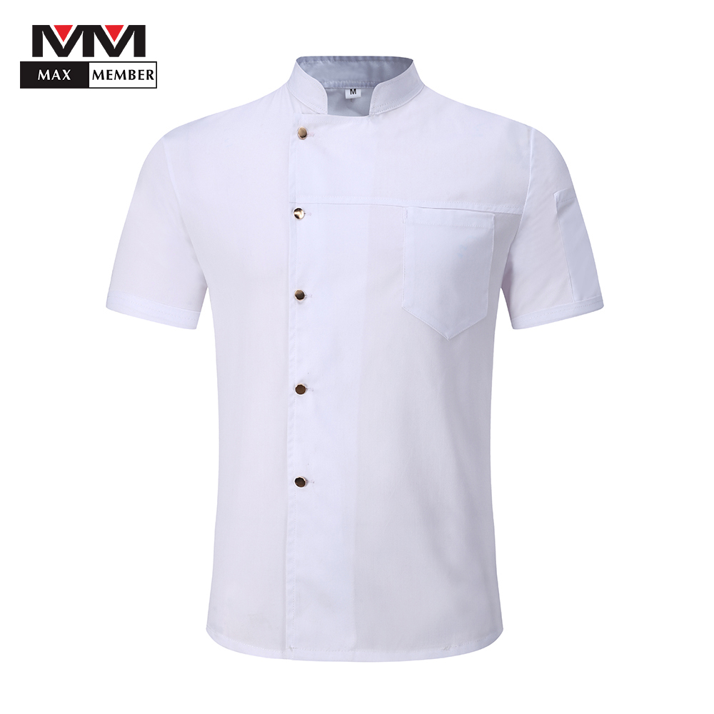 Men Breathable Chef Jackets Short Sleeve Single Breasted Solid Catering Bakery Waiter Work Uniforms Kitchen Aprons White Black