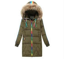 Eight-14Y Long Kids Snow Wear Boys Girls Parka Hooded Big Fur Collar Children Winter Catsuit Girls Winter Coat KW-1675