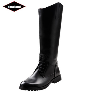 Top Quality New 2019 Fashion Knee High Military Boots for Men Long Waterproof Knight Leather Boots Man Shoes Winter