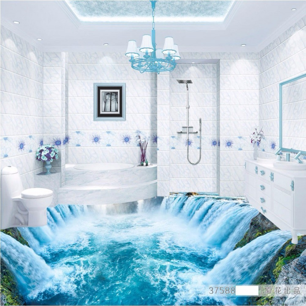 Free Shipping 3D stereo blue waterfall floor painting shower room hotel KTV home decoration non-slip floor wallpaper mural himabm 1 pcs natural jade egg for kegel exercise pelvic floor muscles vaginal exercise yoni egg ben wa ball