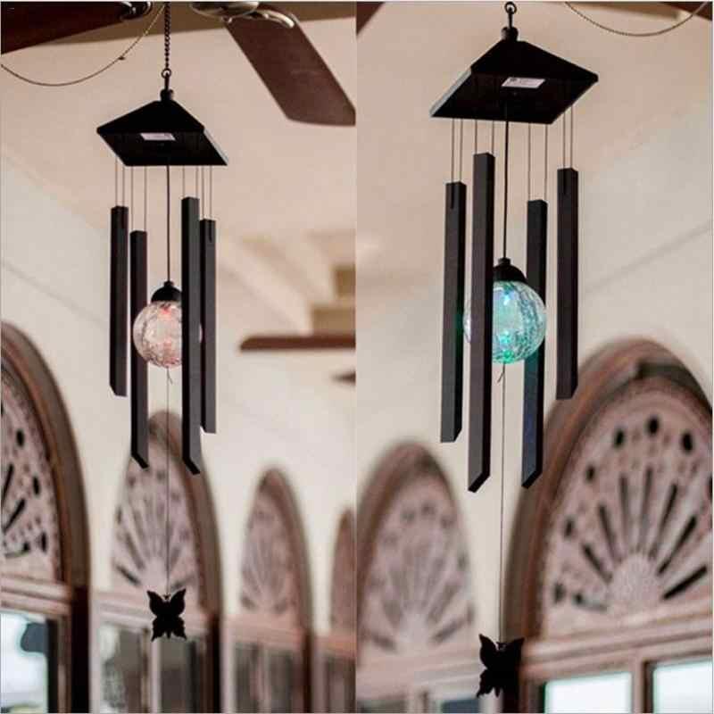 Solar LED Wind Bell Light Outdoor Japanese Garden Decorative Metal  Chandelier Hanging Light Changing Colors Windchime Bulb Light