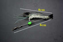7pcs/lot Silicon Fishing Lures Luminous Shrimp Lures Soft Lures 8cm 5g 7 Color Artificial Baits Carp Fishing Tackle FU402