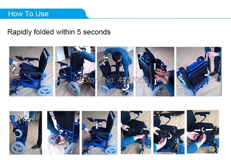 Free shipping 6 colors foldable electric large loading 180kg power electric wheelchair for disabled people 15