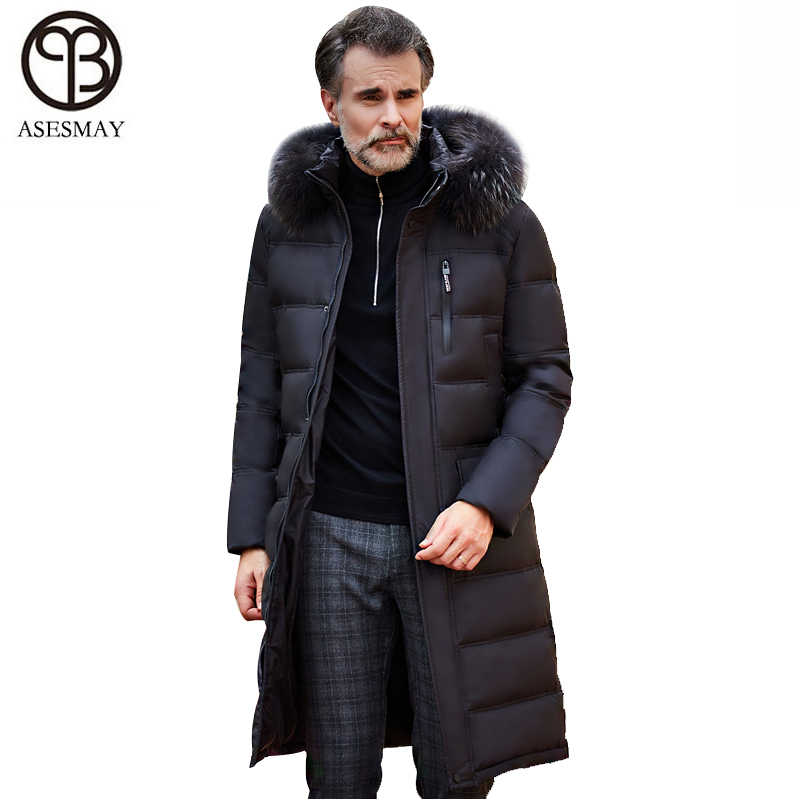1eb4de1c Asesmay 2018 men down jacket brand clothing high quality x-long hoodies  parka winter goose feather russian down coat thick warm
