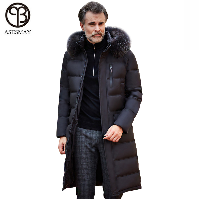 Asesmay 2018 men down jacket brand clothing high quality x-long hoodies parka winter goose feather russian down coat thick warm