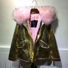 Beautiful raccoon fur collar hooded outwear winter Mrs glod lether coat mild pink fur inside jacket