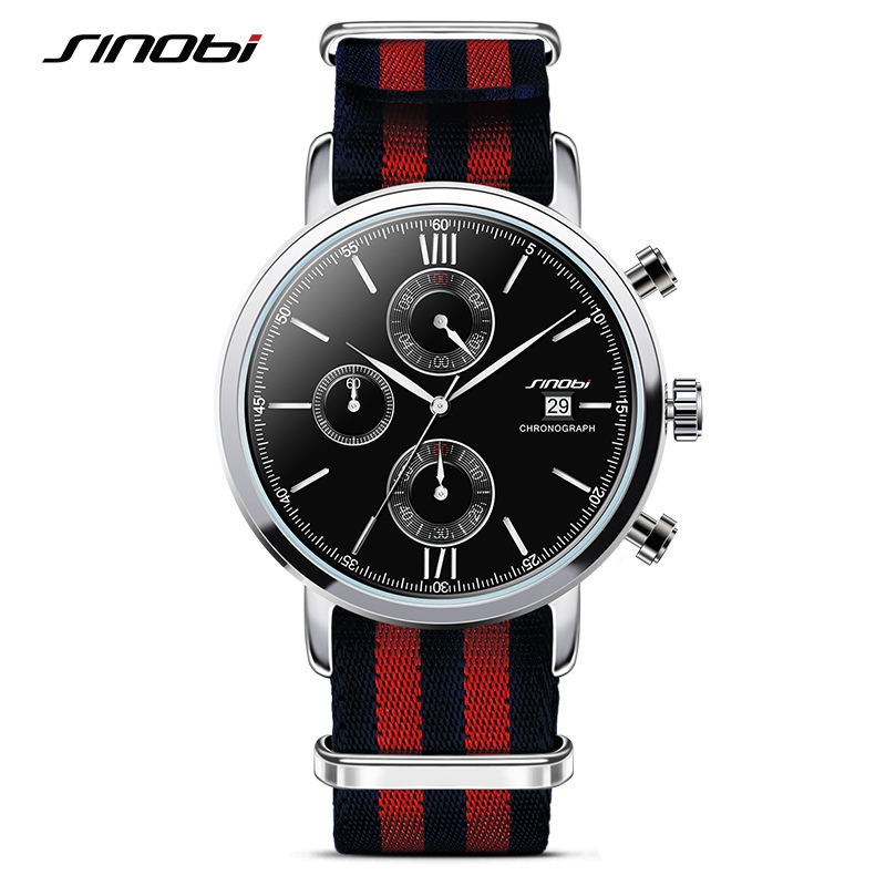 Prix pour Sinobi sport hommes chronographe montres armée l'otan nylon bracelet de luxe marque homme genève quartz horloge erkek saatler 2017