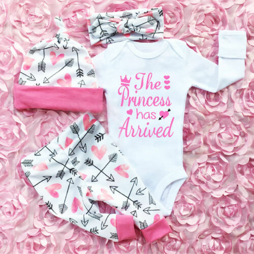 Newest Hot Sell 4PCS Newborn Infant Cute Confortable Soft Baby Girls Clothes Playsuit Pants Bodysuit Outfit Set