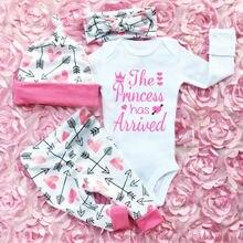 Новинка, Лидер продаж, 4 шт., милая удобная мягкая Одежда для новорожденных девочек, комбинезон со штанами, комплект одежды