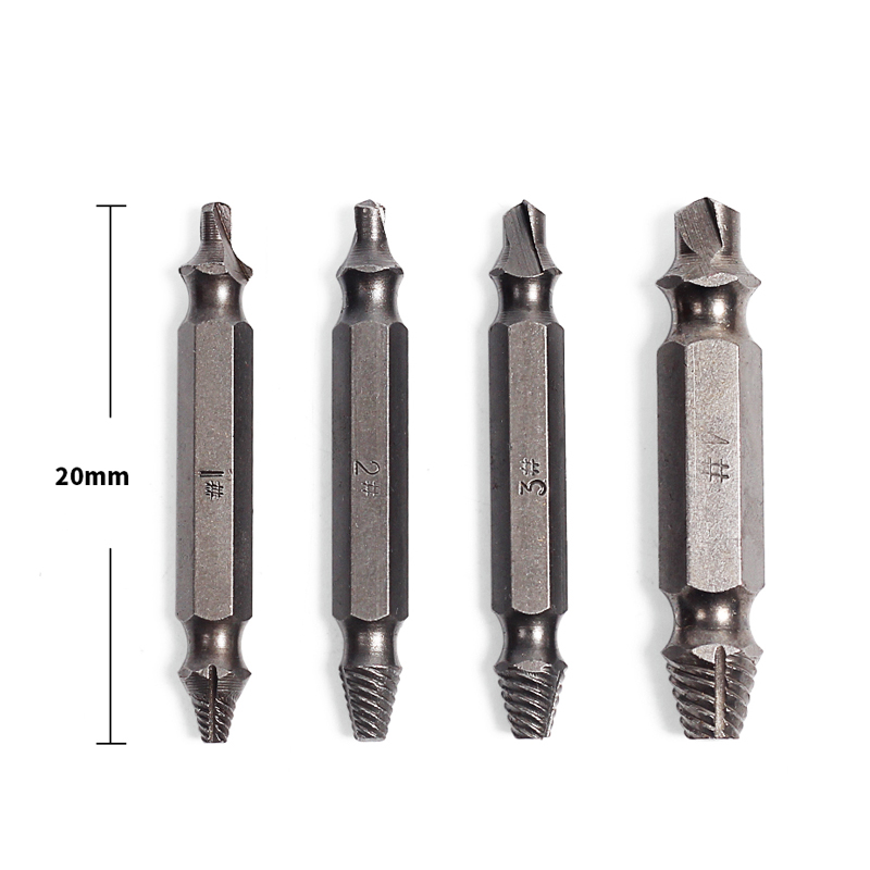 цена на 4pcs Steel Broken Speed Out Damaged Screw Extractor Drill Bit Guide Set Broken Bolt Remover Easy Out Set