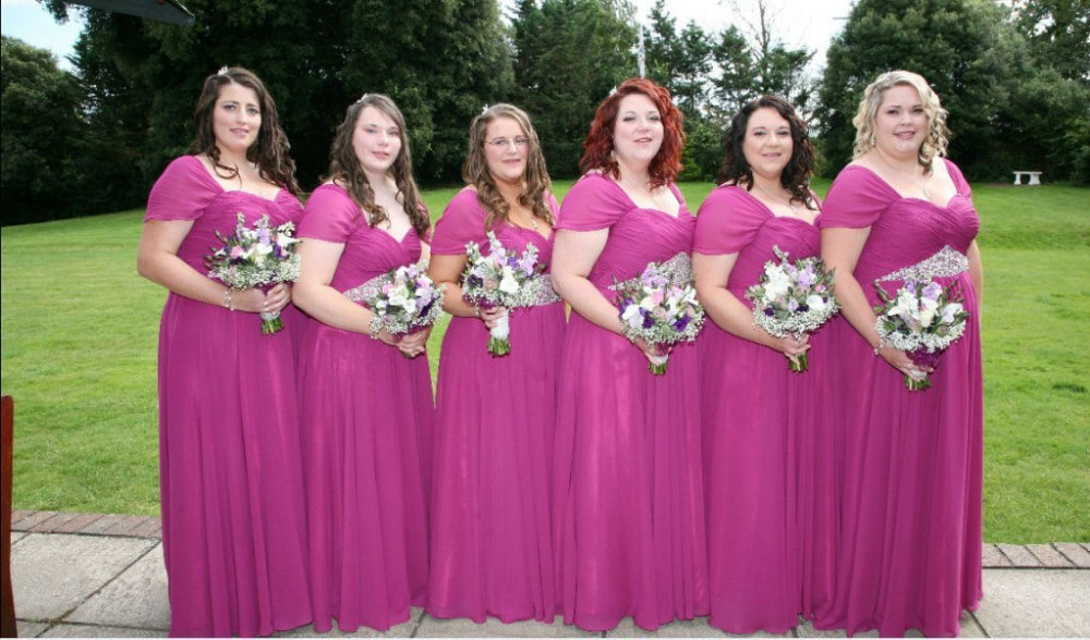 Custom Made V Neck Ruched Chiffon Fuchsia Plus Size Bridesmaid