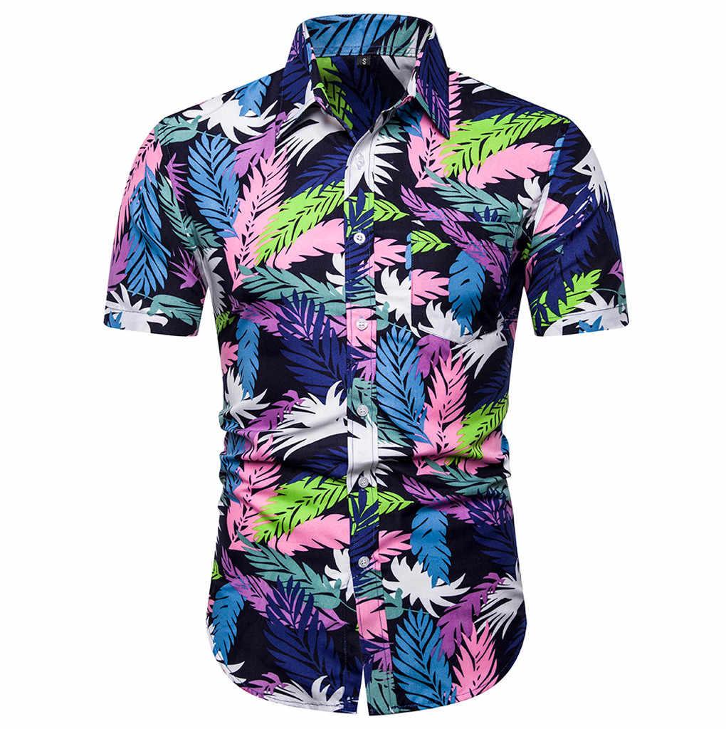 ブラウス男性夏半袖ビーチハワイシャツ男性服カジュアルルースカミーサ Masculina プラスサイズ june19