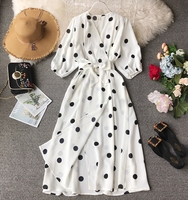Ladies Vintage Robe New 2019 Spring Women 3/4 Sleeve Holiday Wind Slim A line Dress Vestidos Fashion Dot Printed V neck Dress