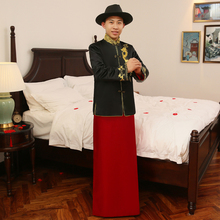 Summer Autumn Special Fashion show chinese male Traditional bridegroom Suit style wedding long dragon Groom gown Robe