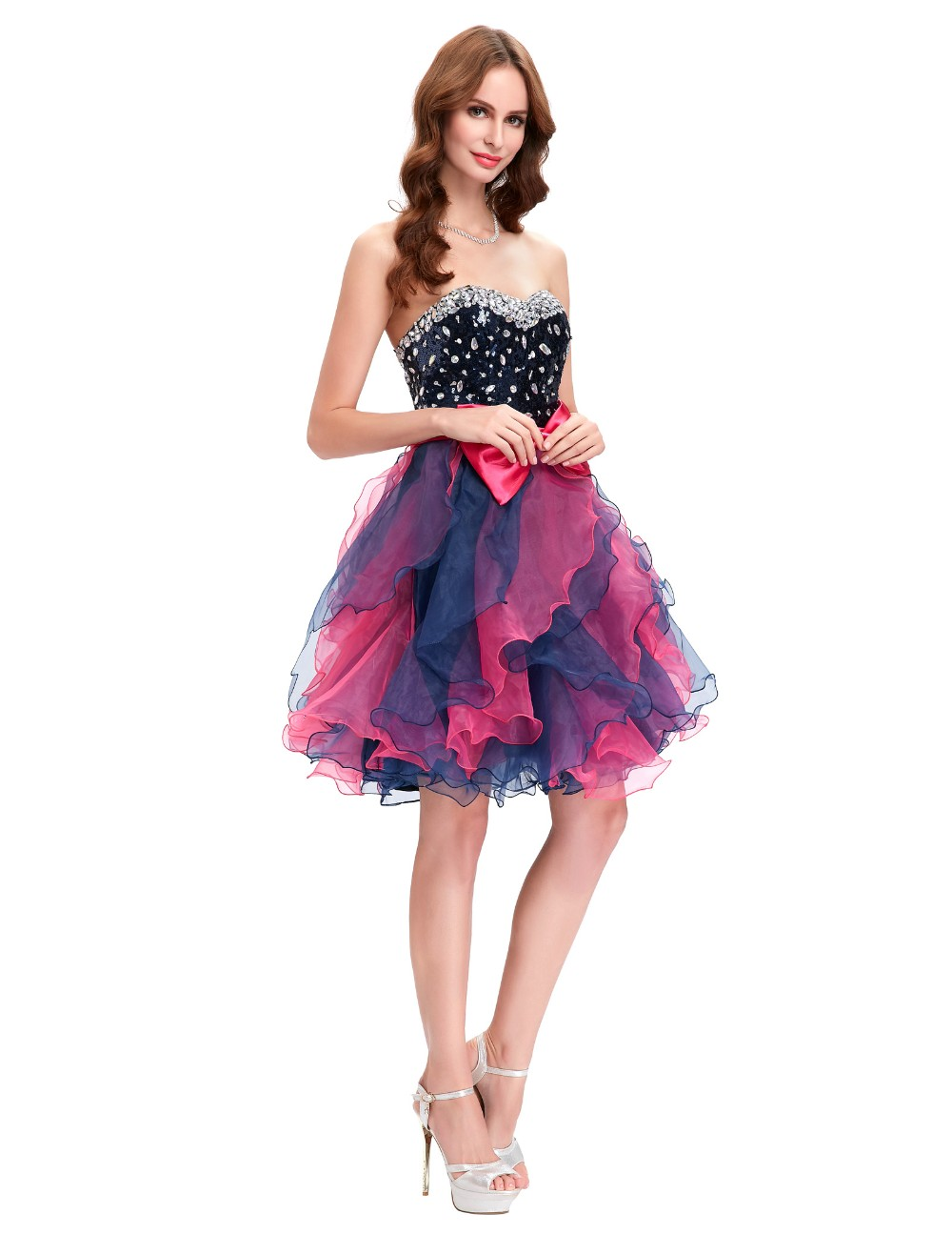 Grace Karin Short Prom Dress Ball Gown Robe De Cocktail Colorful Sequin Organza Prom Gowns Sexy Party Special Occasion Dress 12