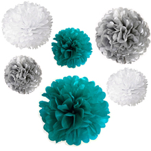 24x NEW mix sizes boy TEAL BLUE WHITE SILVER tissue paper flowers bunting pom poms wedding party wall hanging decorative