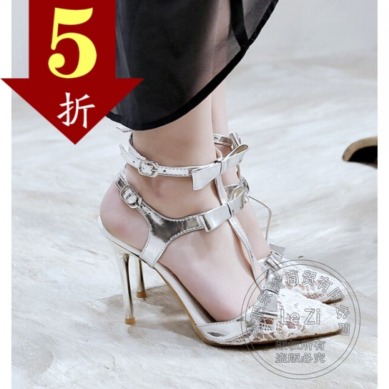 Modern font b Women b font Fashion Shoes Models Shoes Hasp Solid Stiletto Heels T Strap