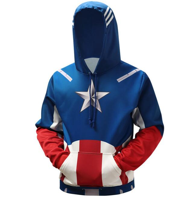 Captain America Hoodies Men Hooded Sweatshirts Superhero 3D Print Quality Pullover Plus 6XL Casual Fashion Tracksuit Streetwear