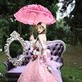 Vintage 1850's Prinzessin Spitze Braut Regenschirme Dusche Battenburg Viktorianischen Dame Sonnenschirme Rosa Hochzeit Regenschirm ombrelle mariage-in Braut Sonnenschirme aus Hochzeiten und feierliche Anlässe bei