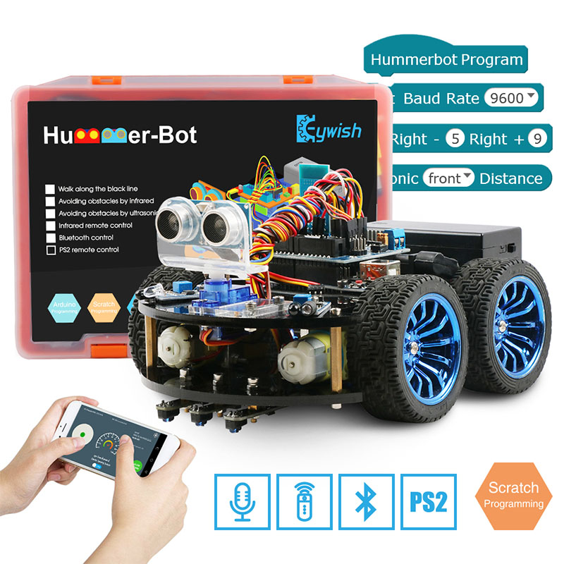 Integrated Circuits New Fashion Smart Robot Car Kit 4wd High Tech Toys Bluetooth Ir Obstacle Avoid Line Vehicles Follow L298n Forarduino Programmable Toys Active Components