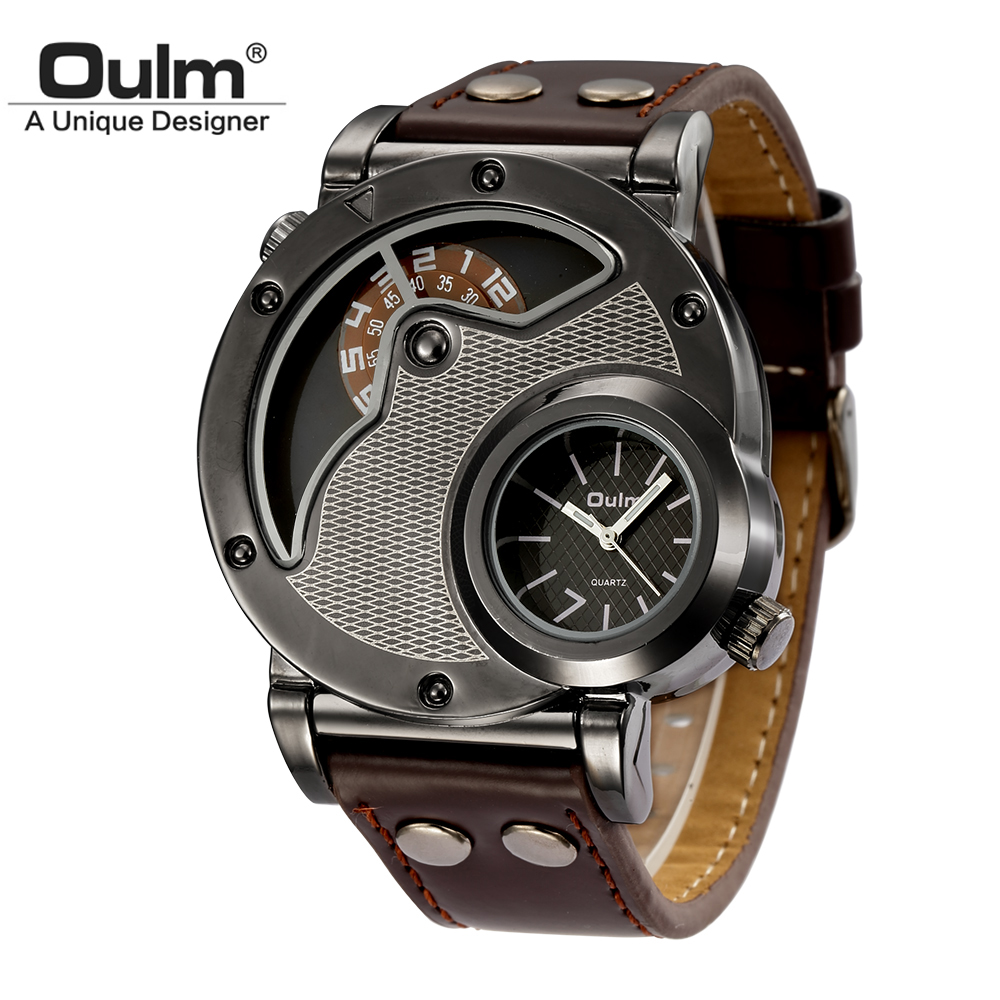 Oulm Two Time Zone Sports Wristwatch Military Army Men's Casual PU Leather Strap Antique Designer Quartz Watch Male Clock