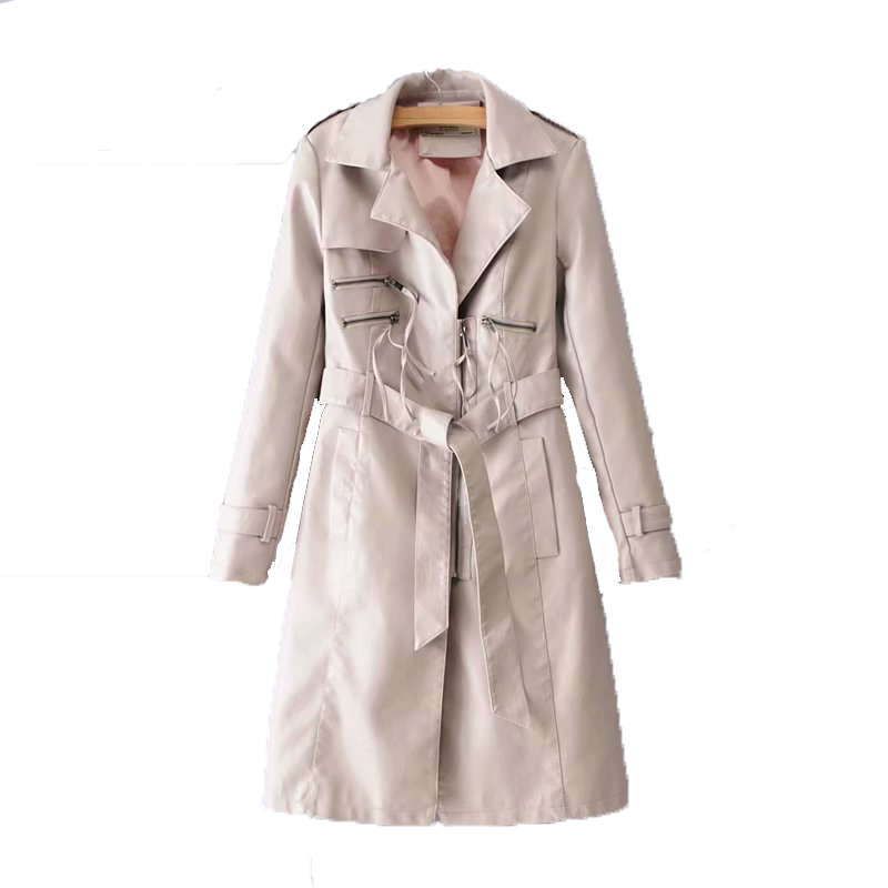 Long Leather Jacket Women Fashion Coat Female S-XL Size Turn Collar Single Covered Zippers Outerwear Black Red Pink Beige