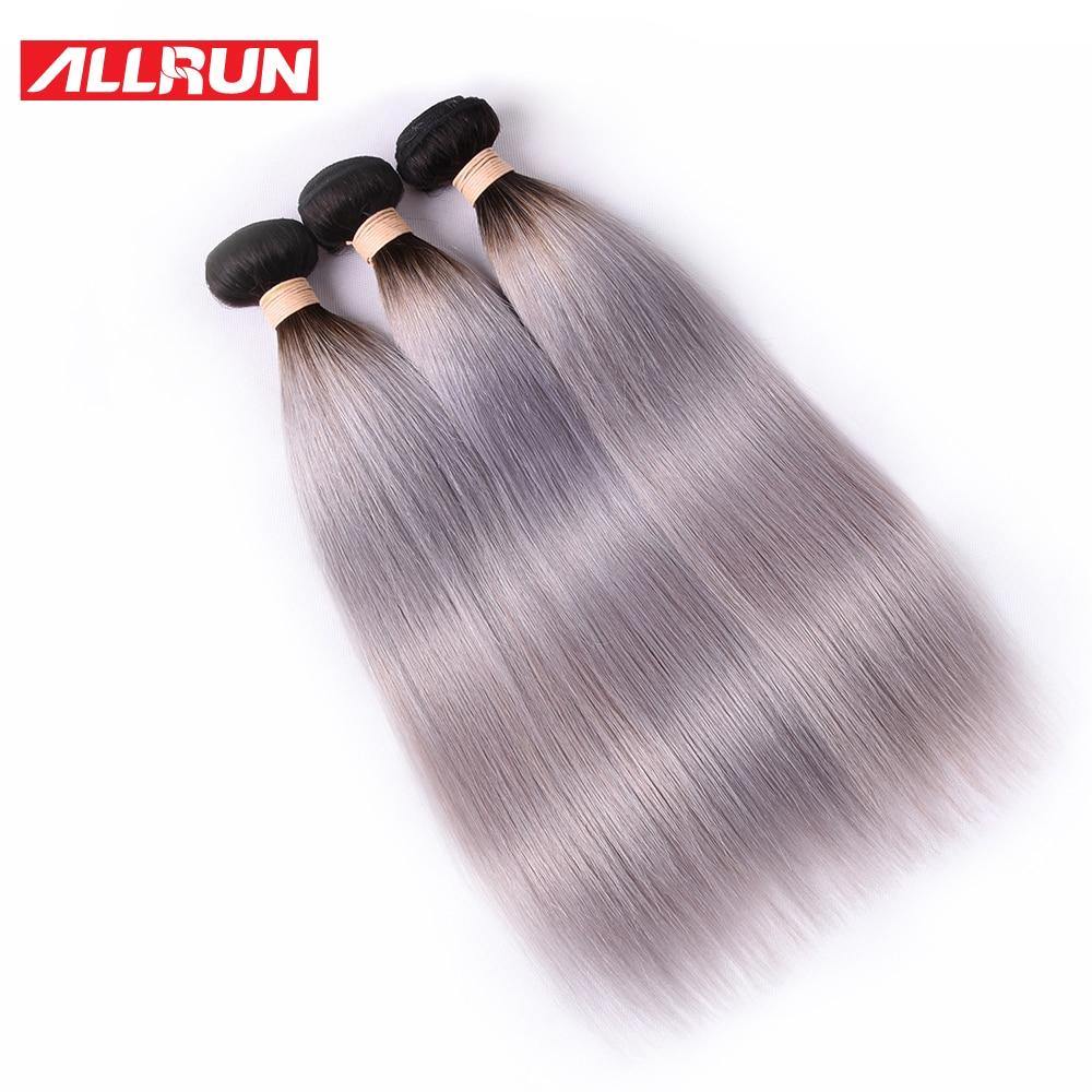 ALLRUN Braziliaanse Straight Haar T1b / grijs Ombre Haar 3 Bundels 100% Niet Remy Ombre Human Hair Extensions Gratis Verzending