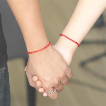 Bracelet porte bonheur couple cordon rouge