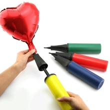 Portable Hand Held Dual Action Plastic Balloon Air Pump Inflator Color Random HG3944