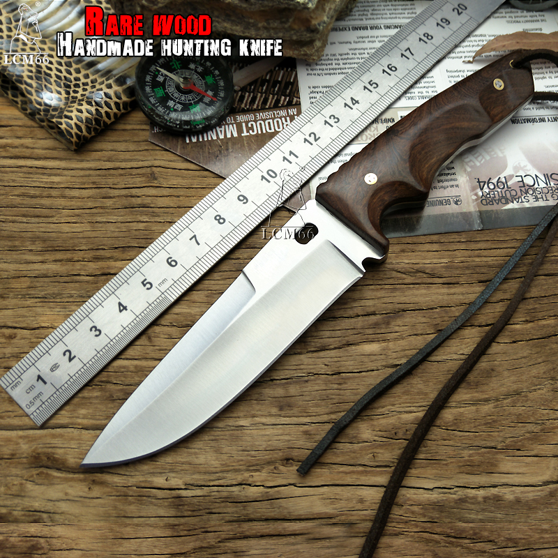 LCM66 hunting knife Tactical Small Fixed Knives Copper Ebony handle Survival Knife Camping Portable knife cs Handmade